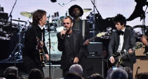 Rock and Roll Hall of Fame inductees Ringo Starr and Billie Joe Armstrong of Green Day perform with Sir Paul McCartney and Gary Clark Jr onstage during the 2015 ceremony. Photograph: Mike Coppola/Getty Images