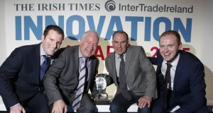 Barry Cryan, Pat Walsh, Conal O'Neill and Anthony Killeen from PanelDuct: the Co Mayo engineering firm  won the overall Innovation of the Year award at The Irish Times InterTradeIreland Innovation Awards 2015. Photograph: Conor McCabe Photography