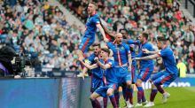 David Raven, centre, celebrates scoring the winning goal in extra-time with his Inverness    Inverness Caledonian Thistle tam-mates in the Scottish Cup semi-final against Celtic at Hampden Park in Glasgow. Photo: Russell Cheyne/Reuters/Livepic
