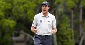 Jim Furyk reacts after beating Kevin Kisner in a play-off to win the RBC Heritage at Hilton Head. Photograph: Getty Images.