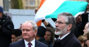 Sinn Féin's Deputy First Minister of Northern Ireland Martin McGuinness and party president Gerry Adams. Sinn Féin sees social media as very important in the upcoming election, and the party's  West Tyrone MP Pat Doherty recently shared an old photo of himself with Mr Adams on Twitter. Photograph:   Gareth Fuller/PA Wire.
