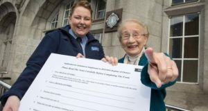 Retired Supreme Court justice Catherine McGuinness with community garda Kerrie Sullivan at Pearse Street station, Dublin, on Sunday. Photograph: Paul Sharp/Sharppix