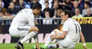 Gareth Bale is set to miss Real Madrid's Champions League quarter-final second leg against Atletico. Photograph: Afp
