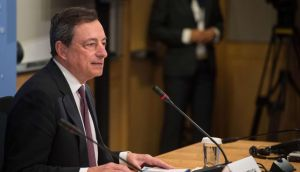 European Central Bank (ECB) president Mario Draghi holds a press conference at the IMF/WB Spring Meetings in Washington.