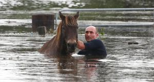 A man tries to help a horse stranded in barbed wire in flood waters on Wednesday near Dungog, Australia. Three people have died and more than 200,000 are still without power as cyclonic winds and rains continue to lash the Sydney, Hunter Valley and Central Coast regions of New South Wales. Photograph: Daniel Munoz/Getty Images