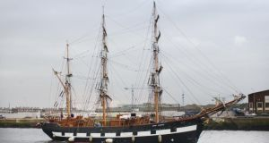 A walk commemorating 1,490 people who walked to Dublin to take a ship to Canada during the Famine will be completed on Wednesday at the Jeannie Johnson tall ship (above) at Custom House Quay. File photograph: Alan Betson/The Irish Times.