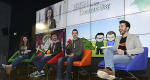 At the YouTube Irish Creators Day in Google's Dublin headquarters were, from left, YouTubers Melanie Murphy, David Nagle and Seán Mclaughlin, and YouTube partner manager Marco Danesi. Photograph: Dave Meehan
