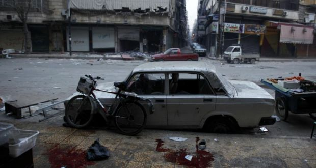 'On December 13th 2012, a news team from the US network NBC was kidnapped by armed men in northern Syria.' Above,  the aftermath of an artillery mortar shell attack  in  Aleppo, on December 3rd, 2012.  Photograph:  Javier Manzano/AFP/Getty Images
