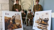 Liam Heslin, Thomas Reilly, Kevin C Olohan , and John Cronin of an ANU production currently running at Collins Barracks which tells the story of the 7th Battalion of the Royal Dublin Fusiliers, pictured at the launch by An Post of two new stamps, at Collins Barracks. Photograph: Colin Keegan/Collins.