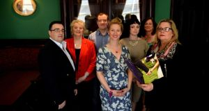 Pictured, from left, are JP Connolly, Susan Ryder, Chris Gordon, Dr Lorraine Nancy O Brien, Christine Mc Quillan, Mary Grant, and Irish Times 'trainee' celebrant Kate Holmquist. Photograph: Cyril Byrne