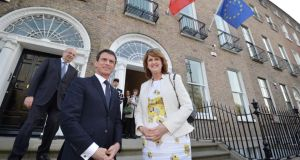 French Prime Minister Manuel Valls inaugurating the new French embassy with Tánaiste Joan Burton at Merrion Square in Dublin yesterday. Photograph: Alan Betson/The Irish Times.