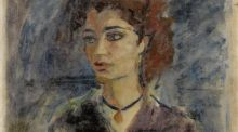 Detail from 'Lamea', a portrait of the celebrated Iraqi poet and academic, Lamea Abbas Amara sold for £176,000