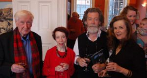 Poet John Montague, Elizabeth Wassell, Denis and Christine Dwyer Hickey and, in the background, Rebecca O'Connor, editor of The Moth