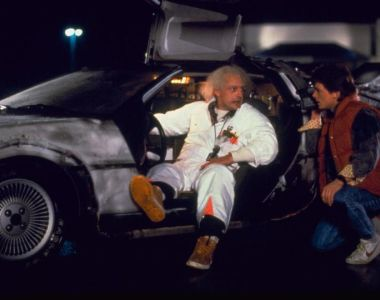 Back to the Future: Christopher Lloyd and Michael J Fox with their DeLorean time machine