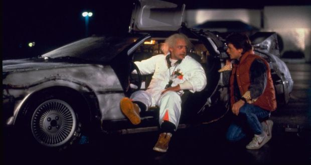 Back To The Future Christopher Lloyd And Michael J Fox With Their Delorean Time Machine