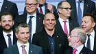 Greek finance minister Yanis Varoufakis, centre, with other participants at a finance ministers' meeting in Riga, Latvia, yesterday. Photograph: Dmitris Sulzics/F64 Photo Agency via AP
