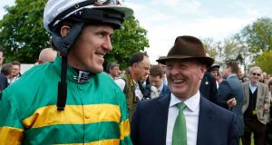 "Tony McCoy with Jonjo O'Neill at Sandown racecourse. ""We'll never see the likes of him again,"" said O'Neill. Photograph: Alan Crowhurst/Getty Images"