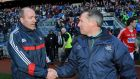 Cork and Dublin managers Brian Cuthbert and Jim Gavin shake hands after the Allianz Football League Division One  final at  Croke Park. Photograph: Inpho