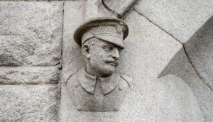 Carved stone head of a member of the Dublin Metropolitan Police at Pearse Street Garda station in Dublin. Photograph: Frank Miller