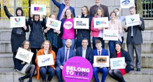 Representatives from the  BeLonG To YES coalition at a meeting on the importance for young people of a 'Yes' vote in the same-sex marriage referendum. Organisations involved in the coalition include the ISPCC, Barnardos, Foróige and BeLonG To. Photograph: Marc O'Sullivan