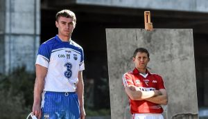Waterford's Pauric Mahony and Cork's Lorcán McLoughlin at Croke Park on Monday in advance of the Allianz Hurling League Division One  final. Photograph: Sportsfile