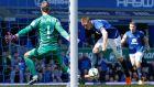 James McCarthy scoring the first goal for Everton in their 3-0 win over Manchester United. Photograph: Andrew Yates/Reuters