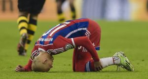 Bayern Munich flyer Arjen Robben has been ruled out for the rest of the season. Photograph: Afp