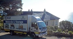 A furniture removal truck leaves Gorse Hill in Killiney on Wednesday morning.  Photograph: Eric Luke/The Irish Times