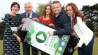 Minister for Communications Alex White is joined by RTÉ presenter Keelin Shanley (left), FM104's Ruth Egan, RTÉ 2fm's Nicky Byrne and Spin 1038's Becki Miller for the launch of the Irish Radioplayer app. Photograph: Brian McEvoy