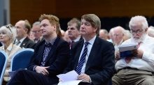 Brian O'Donnell and son Blake speak at Bank Of Ireland agm