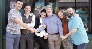 Playwright Martin Lynch, centre, and the cast of My English Tongue, My Irish Heart. The play  centres on a young, educated couple – Gary, a Mayo Catholic, and Susan, a Tyrone Protestant – who, after some time living together in Dublin, decide to emigrate to Manchester
