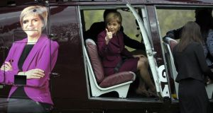 Nicola Sturgeon on a helicopter leaving a hotel in Edinburgh yesterday. Photograph: Andy Buchanan/AFP/Getty Images
