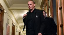 Greek finance minister Yanis Varoufakis arriving for a cabinet meeting at the Greek parliament in Athens on Thursday. Louisa Gouliamaki/AFP/Getty Images