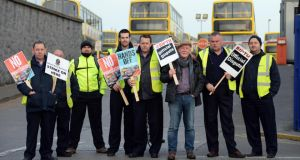 The picket line at Phibsboro Depot this morning as members of Siptu and NBRU start their strike. Photograph: Cyril Byrne/The Irish Times