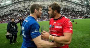 D'Arcy with Leigh Halfpenny after Toulon beat Leinster in the Champions Cup semi-final, his last European outing in a Leinster shirt. Photograph: Inpho
