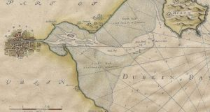 Past and present: Dublin Bay in the Collins map, from the end of the 17th century