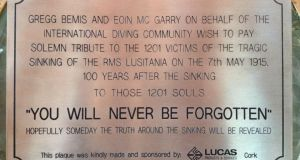 Memorial: the plaque that Gregg Bemis has commissioned to place on the wreck of the Lusitania. Photograph: Eoin McGarry