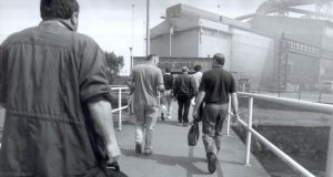 Irish Steel workers on their way into the plant on Haulbowline in Cork Harbour in the 1990s. File photograph: Alan Betson/The Irish Times