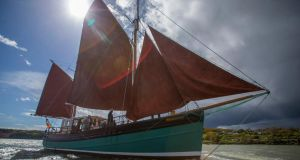 The  Brian Ború under sail  off Cheekpoint, Waterford Estuary.  Photograph: Patrick Browne