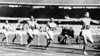 Ronnie Delany of Ireland wins the 1500m at the Melbourne Olympic Games of 1956, three years previous he won the Irish schools 800m. Photograph: IOC/Allsport.
