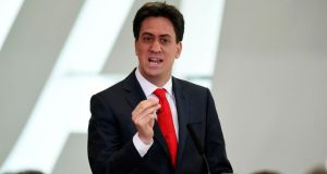 British Labour Party leader Ed Miliband during a visit to the Wales Millennium Centre in Cardiff yesterday. Photograph: Andrew Matthews/PA Wire