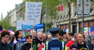 Right2Water campaign members  march in the annual May Day demonstration in Dublin. Photograph: Aidan Crawley/The Irish Times