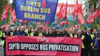Dublin Bus drivers  at the annual May Day demonstration, which coincided with the two-day strike. Siptu and the NBRU have strongly contested claims that their strike action is illegal. Photograph: Aidan Crawley