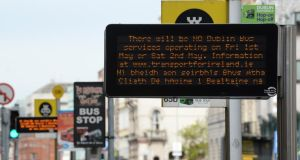 A Dublin Bus sign on Dame St announcing loss of  services due to Siptu and NBRU strike at depots. Photograph: Cyril Byrne/The Irish Times
