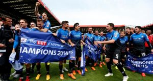 Bournemouth are promoted as Championship winners after Watford could only draw 1-1 with Sheffield Wednesday. Photograph: Getty