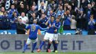 Leonardo Ulloa scored twice as Leicester City took another huge stride towards survival with a 3-0 win over Newcastle. Photograph: Reuters