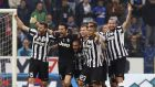 Juventus players celebrate at the end of their Serie A match against Sampdoria at the Marassi Stadium in Genoa to win their fourth successive league title. Photograph: Reuters.