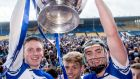 Waterford's Austin Gleeson, Martin O'Neill and Pauric Mahony celebrate with the trophy. Photo: James Crombie/Inpho