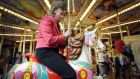 Scottish first minister and SNP leader Nicola Sturgeon visits an amusement park in Motherwell. The major UK parties have looked to strategic voting to halt the advance of the SNP. Photograph: Andy Buchanan/AFP/Getty Images