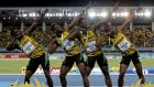 Jamaica's 4x200 relay team strike a pose on the medal podium after winning the event at the IAAF World Relays Championships in Nassau Bahamas; Nickel Ashmeade, Jason Livermore, Rasheed Dwyer and Warren Weir. Photo: Mike Segar/Reuters